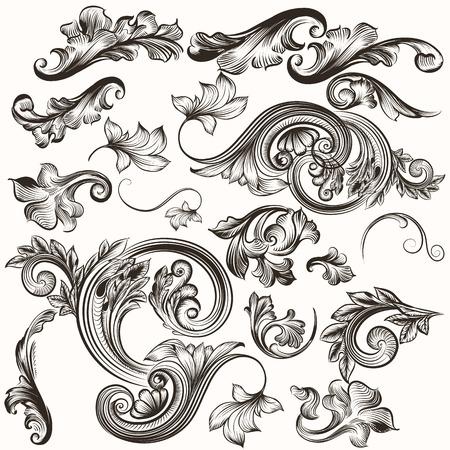 and antique: Vector conjunto de elementos caligr�ficos de dise�o. Vector caligr�fico