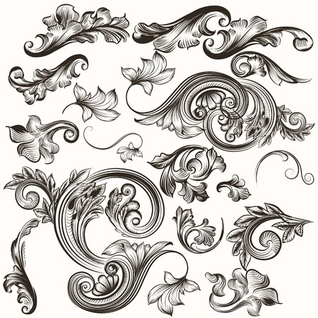filigree: Vector set of calligraphic elements for design. Calligraphic vector