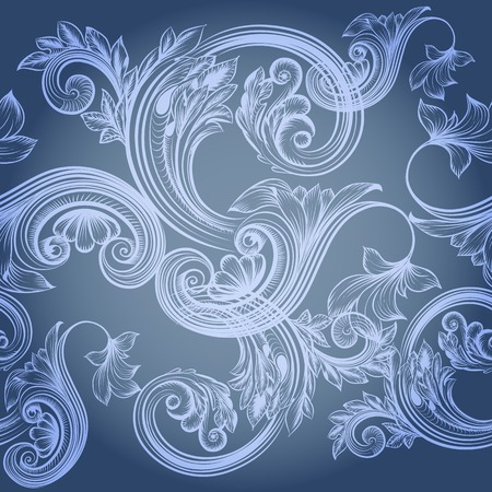 Vector illustration with blue floral pattern Vector