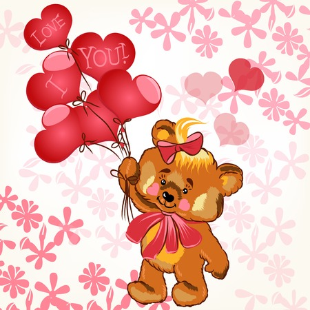 february 14: Plush girl bear holding pink balloons in shape of heart Illustration