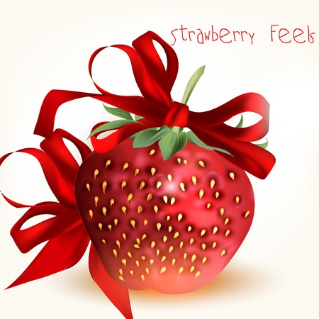 Greeting Valentines Day card with big red strawberry and bow Vector
