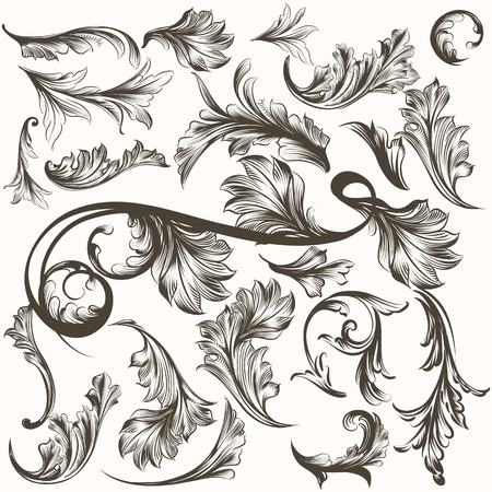 antique: Collection of antique hand drawn ornaments for design