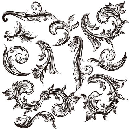 flourish: Vector set of swirl elements for design. Calligraphic vector