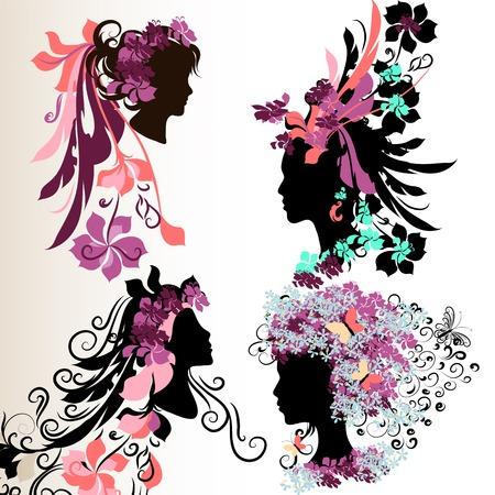 donna farfalla: Set di facce vettoriale astratto di ragazze con i capelli stile floreale