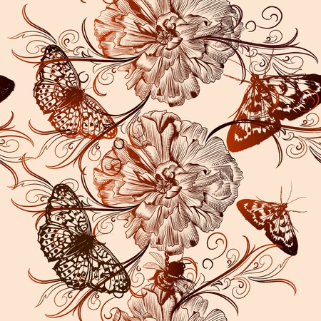 monochromic: Vector seamless wallpaper pattern with vintage butterfly and flowers  for design