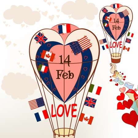 international flags: Air balloons with international flags and hearts Valentines greetings