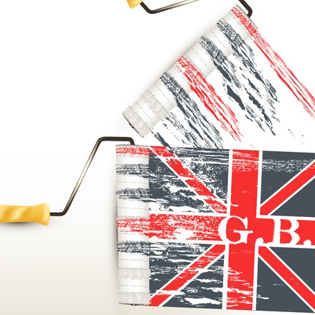 gb: background with British flag imprint by roller