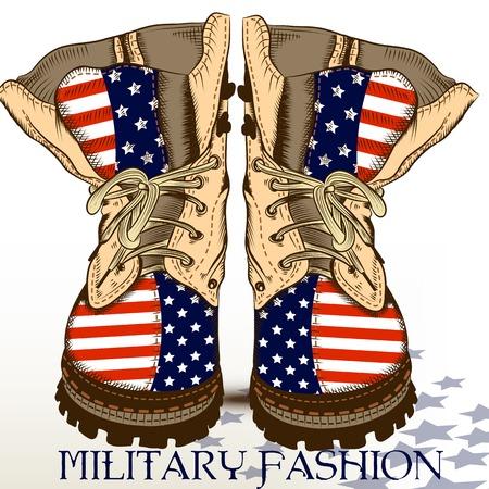 estrellas  de militares: Mano de la manera dibuja botas de estilo militar con EE.UU. bandera Vectores