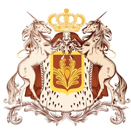 heraldic illustration in vintage style with shield, unicorns and crown