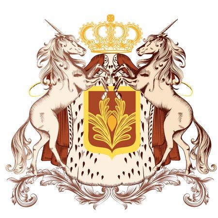 nobel: ilustraci�n her�ldico en estilo vintage con escudo, unicornios y corona Vectores