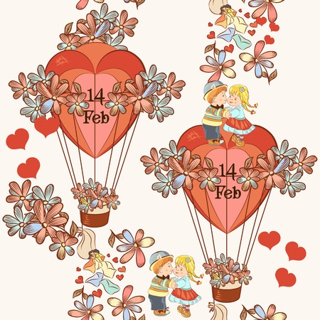 first love: seamless pattern with hearts and air balloons