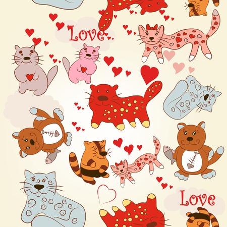 kitties: Valentines Day kitties and pink hearts Illustration