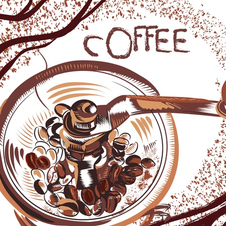 brewed: Coffee poster with hand drawn coffee mill and coffee grains in sketch style