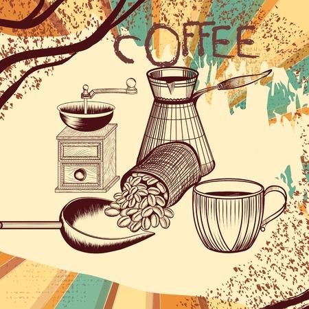 Coffee poster with hand drawn coffee mill, coffee grains, mug Vector