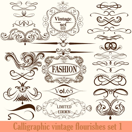 filigree border: Vector set of calligraphic elements for design. Calligraphic vector