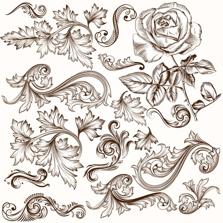 Vector set of swirl elements for design