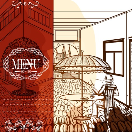 fresh brewed: Hand drawn scenery with cafe and street from coffee grains