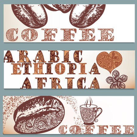 ethiopia: Coffee vector brochures set with hand drawn coffee grains Illustration