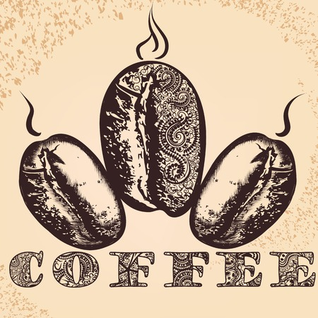 ethiopia: Coffee poster with hand drawn coffee grains stylized by imitation of ethnic African ornament