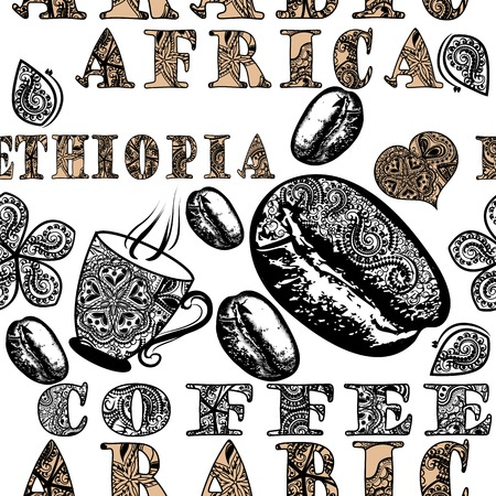 ethiopia: Coffee seamless pattern with hand drawn coffee grains stylized by ornament