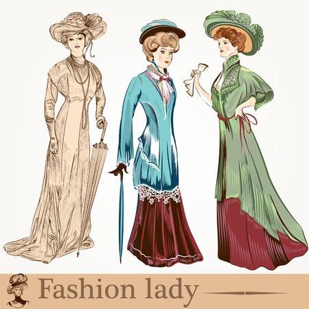 Colección de mujer pasada de moda con accesorios Foto de archivo - 36671626
