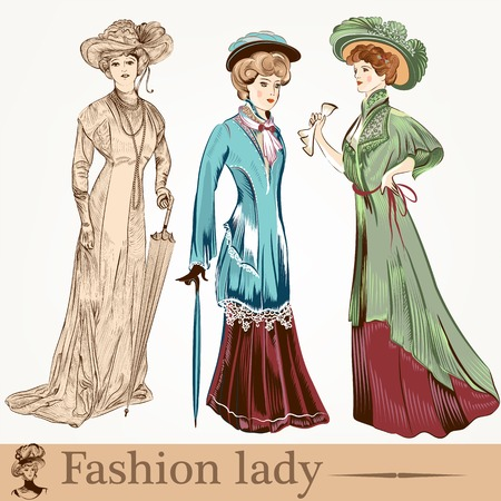 Collection of old-fashioned woman with accessories Banco de Imagens - 36671626