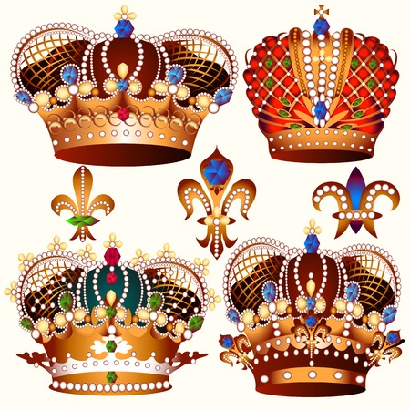 baroque pearl: Vector set of crowns for your heraldic design