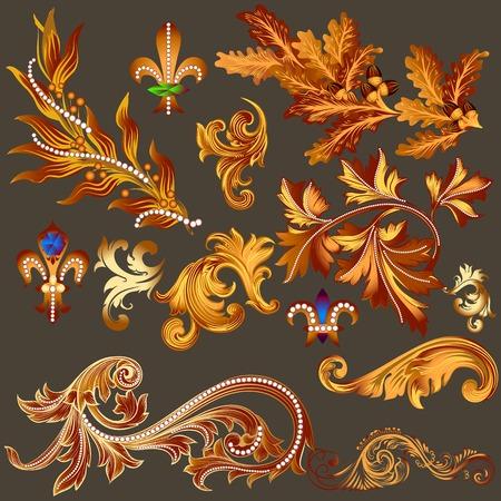 nobel: Vector set of calligraphic elements for design. Calligraphic vector