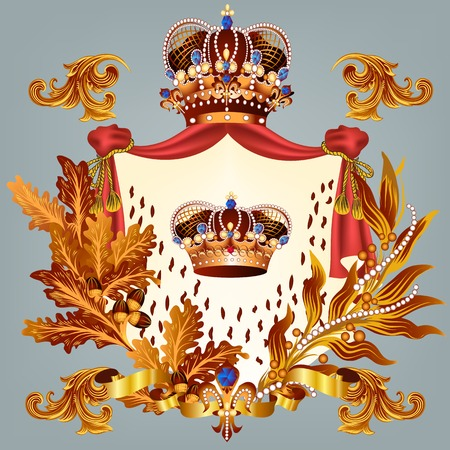 Heraldic coat of arms in vintage style for design 向量圖像