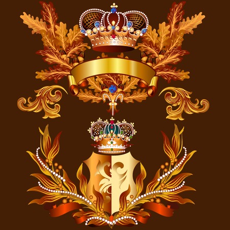 wreath collection: Heraldic coat of arms in vintage style for design Illustration