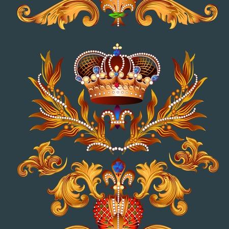 nobel: Seamless wallpaper pattern with fleur de lis and crowns Illustration