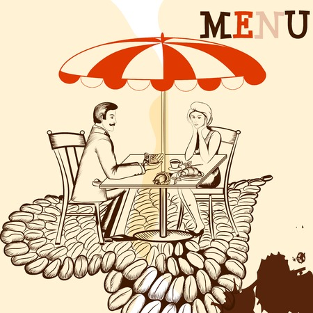 hot couple: Hand drawn scenery with cafe and young couple