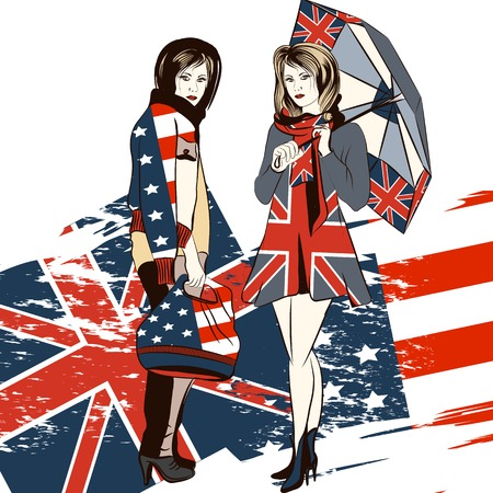 english girl: Fashion trendy girls in clothiers decorated by English and USA flag