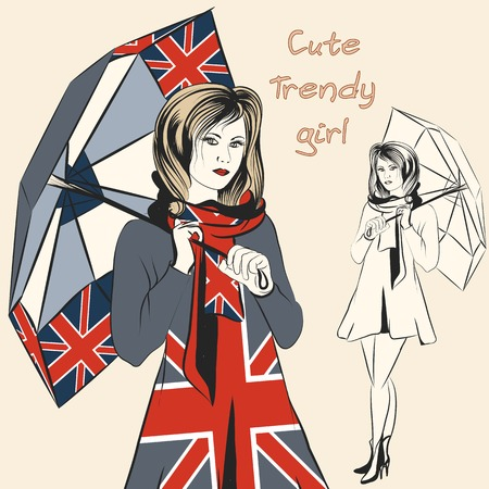 british girl: Fashion girl hold umbrella decorated by British flag print