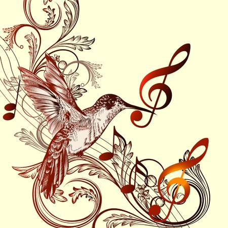 Vector pattern with bird and music notes Vector