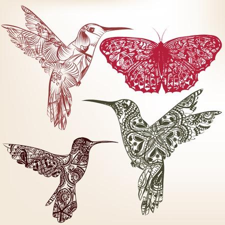 Vector set of abstraites oiseaux tiré par la main pour la conception