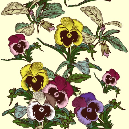 violets: Seamless vector pattern in vintage style with violets flowers