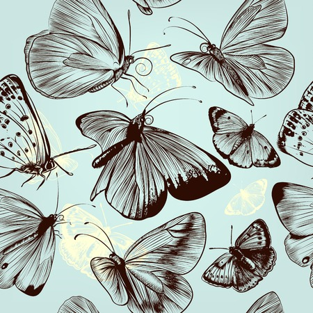 monochromic: Seamless pattern with engraved butterflies in vintage style
