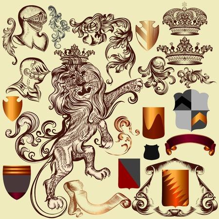 leon con alas: Vector conjunto de elementos de la época real de lujo para el diseño heráldico Vectores