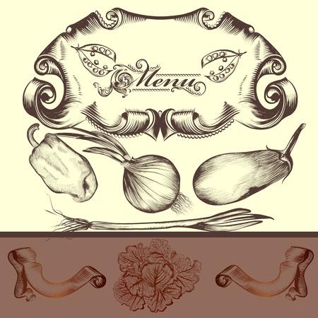 produits alimentaires: Conception du menu élégant décoré de légumes