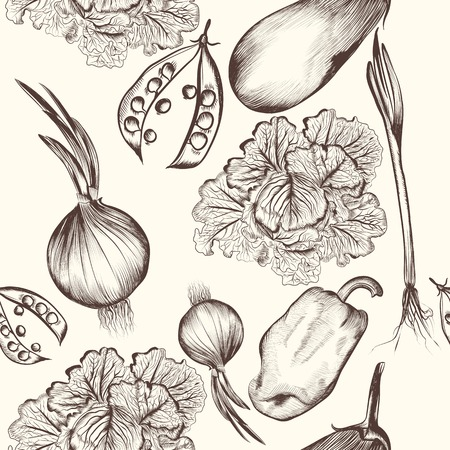 old fashioned vegetables: Vector seamless pattern with engraved vegetables