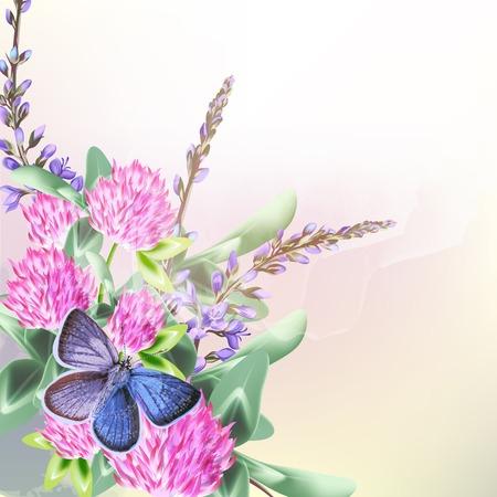 schmetterlinge blau wasserfarbe: Blumenhintergrund mit Feld Blumen und Schmetterling Klee Illustration