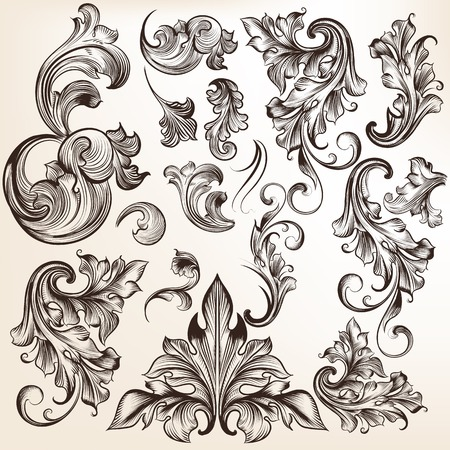 floral border frame: Vector set of calligraphic elements for design. Calligraphic vector