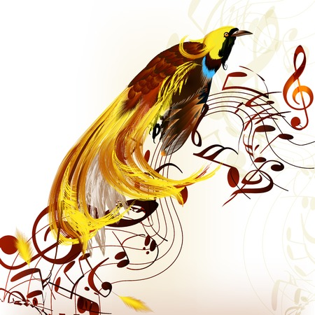 tropical bird: Colorful tropical bird with staves and notes