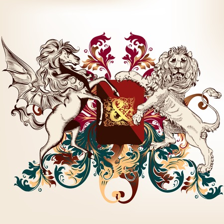 nobel: Vector heraldic illustration in vintage style with shield, lion, crown and horse for design