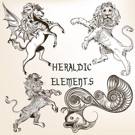 nobel: Set of vector detailed heraldic animals for design