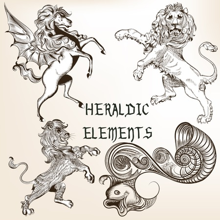 Set of vector detailed heraldic animals for design