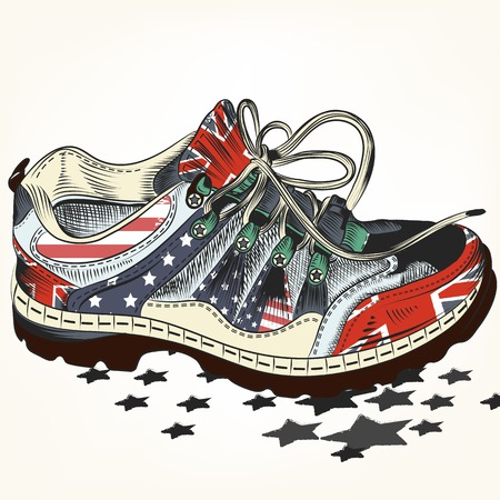 gb: Fashion background with sports boots decorated by British and USA flags Illustration