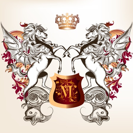 nobel: Vector heraldic illustration in vintage style with shield, crown and horses for design Illustration