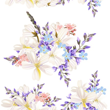 Floral seamless vector pattern with flowers in watercolor style Vector
